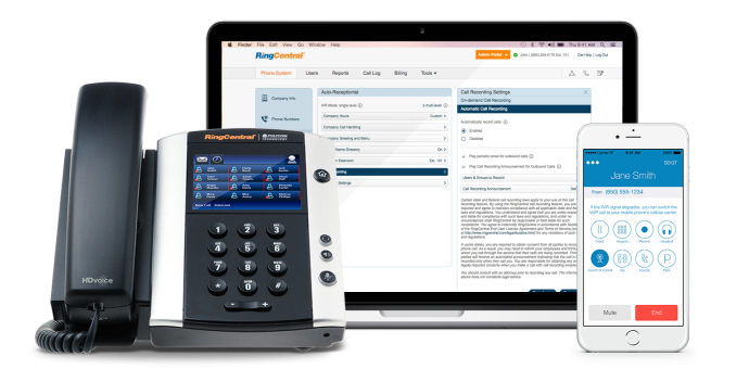 This image shows the RingCentral phone, mobile phone, and computer layout.