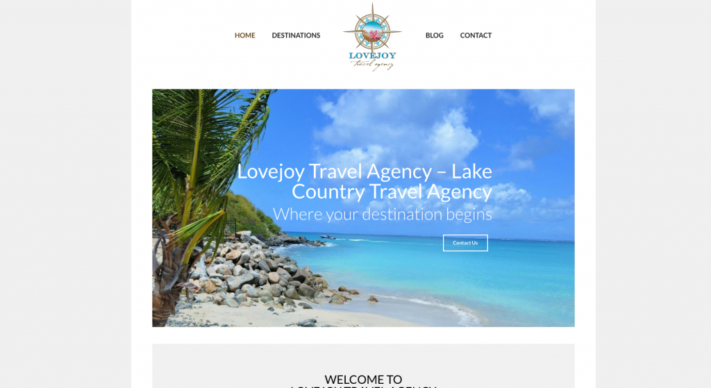 This is a screenshot of the Lovejoy Travel Agency website.