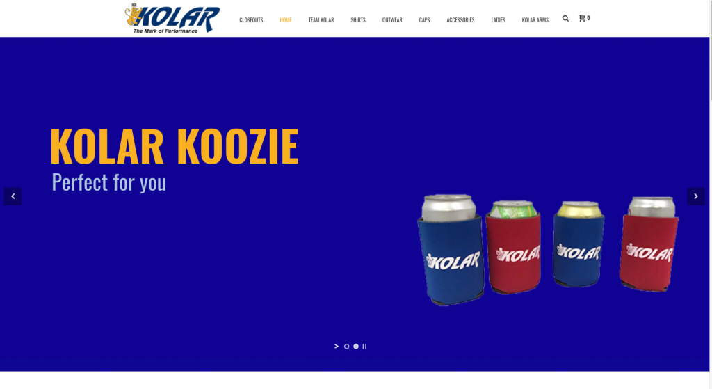 This is a screenshot of the Kolar Gear Website.