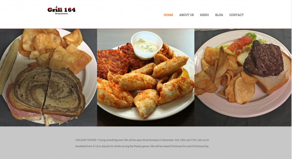 This is a screenshot of the Grill164 website.