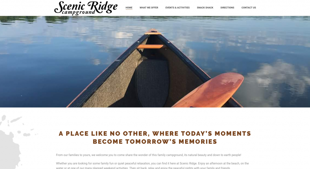 This is a screenshot of the Scenic Ridge Campground website.